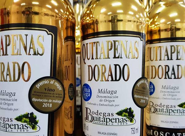 Quitapenas Dorado Premio al mejor vino 2018 de la Diputación de Málaga